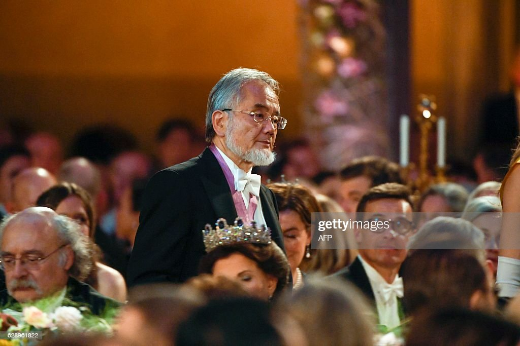 Medicine Nobel prize laureate of Japan Yoshinori Ohsumi walks to deliver his Banquet Speech at the 2016 Nobel Prize banquet at the Stockholm City Hall on December 10, 2016. News Agency / HENRIK MONTGOMERY / Sweden OUT
