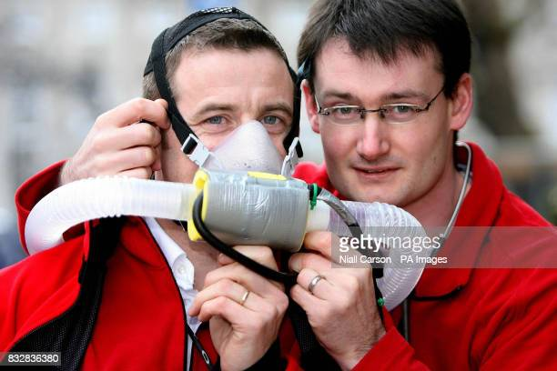 Medics Nigel Hart and Roger McMorrow in preparation for the Caudwell Xtreme Everest medical study at the Buswells Hotel Dublin