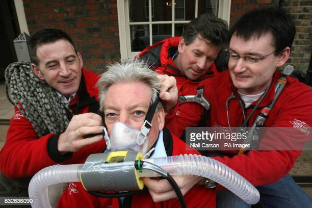medics Nigel Hart Michael Mythen Michael O'Dwyer and Roger McMorrow in preparation for the Caudwell Xtreme Everest medical study at the Buswells...