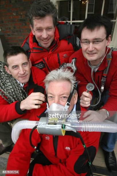 medics Nigel Hart Michael O'Dwyer Roger McMorrow and Michael Mythen in preparation for the Caudwell Xtreme Everest medical study at the Buswells...