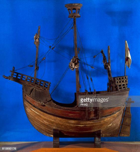 Medieval boat called Coca de Mataro Sailor exvoto made in the 15th century Reproduction of the original Maritim Museum of Barcelona