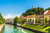 View on medieval buildings and ljubljanica river in Ljubljana - Slovenia