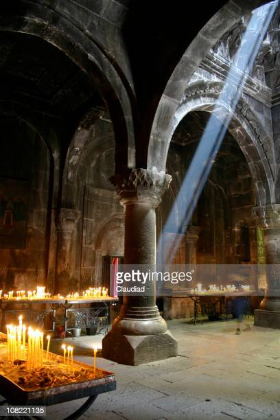 Medieval church in Armenia with Light Shining Through Ceiling