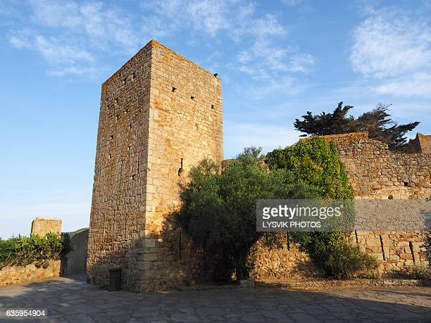 Medieval city walls and tower Castle of Pals, Catalonia