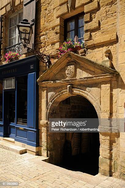 Medieval doorway in the old town, Sarlat, Sarlat le Caneda, Dordogne, France, Europe