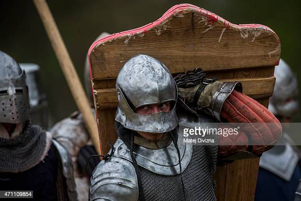 Medieval enthusiasts prepare for the largest medieval battle in the Czech Republic on April 25 2015 in Libusin Czech Republic About 2000 enthusiasts...