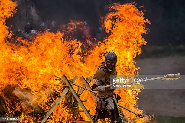 Medieval enthusiasts take part in the largest medieval battle in the Czech Republic on April 25 2015 in Libusin Czech Republic About 2000 enthusiasts...