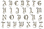 medieval gothic Renaissance alphabet collection isolated on white