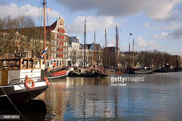 Medieval harbour with traditional ships