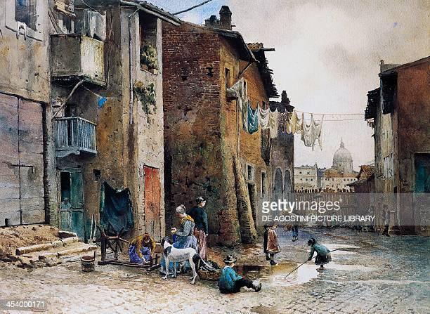 Medieval houses in Via della Lungaretta in Rome by Ettore Roesler Franz watercolour Italy 19th20th century Roma Museo Di Roma Gabinetto Comunale...