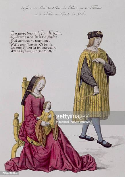 Medieval Illustration Depicting Figures of Louis XII with Anne de Bretagne Holding Princess Claude de France