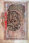 Medieval miniature of angels locking demons into the mouth of Hell from the Winchester Psalter ink and tempera on vellum circa 1150 From the British...