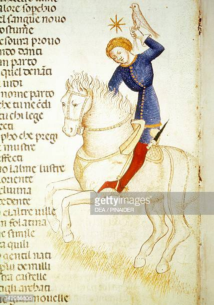 Medieval Nobleman with a falcon miniature from a manuscript
