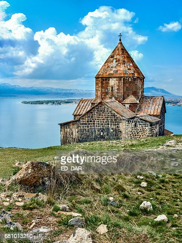 Medieval orthodox monastery and Sevan lake : Foto stock