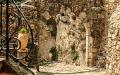 Medieval stone arch in Biot, France