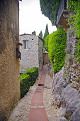 Medieval Streets of Eze with greenery in the summer