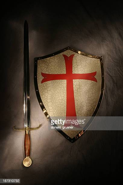 Medieval Sword & Shield with Dramatic Lighting