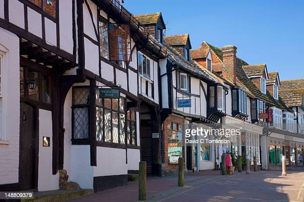 Medieval timbered buildings along High Street.
