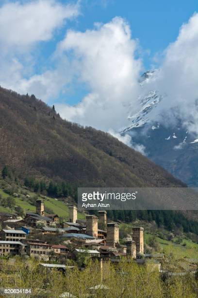 Medieval town Mestia with typical Svanetian protective towers,Upper Svaneti, Georgia, Caucasus