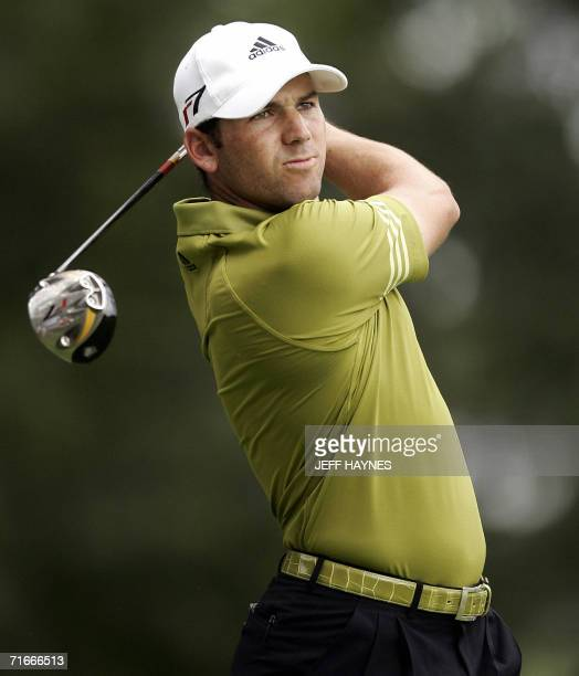 Golfer Sergio Garcia of Spain watches his tee shot on the sixth hole 17 August 2006 during the first round of the 88th PGA golf championship at the...