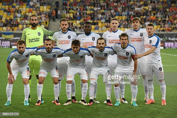 Medipol Basaksehir football team poses for a group photo before the UEFA Europa League First playoff round match between Shakhtar Donetsk and Medipol...