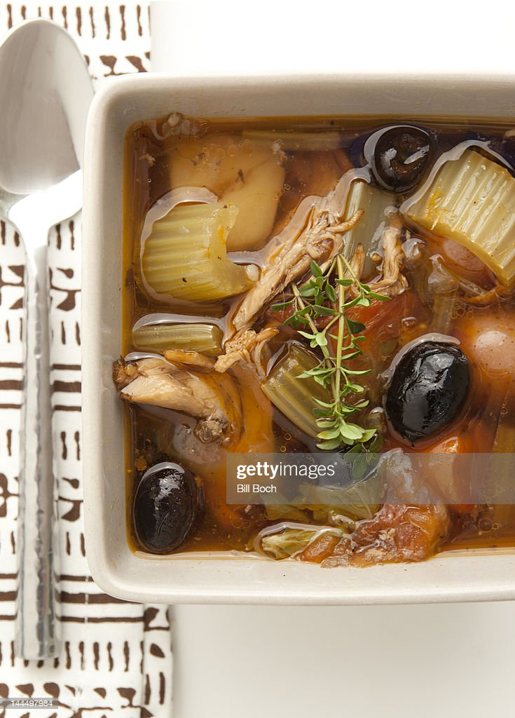 Mediterranean chicken soup in a bowl : Stock Photo