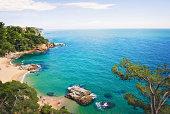View over the coast of Lloret de Mar, Costa Brava, Spain.
