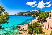 Idyllic sea view on Majorca island, beautiful coast of Camp de Mar bay, Spain Mediterranean Sea