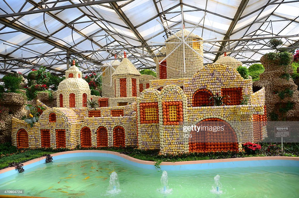 'Mediterranean Sea resort' shows on the 16th China (Shouguang) International Vegetable Sci-Tech Fair on April 23, 2015 in Weifang, Shandong province of China. wide range of 'Silk Road' resorts which gave the fair an outstanding eye.