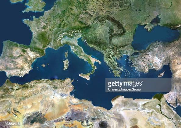 Mediterranean Sea True colour satellite images showing the Mediterranean Sea Points of interest include the Alps the Blakek Sea and the Nile Delta...