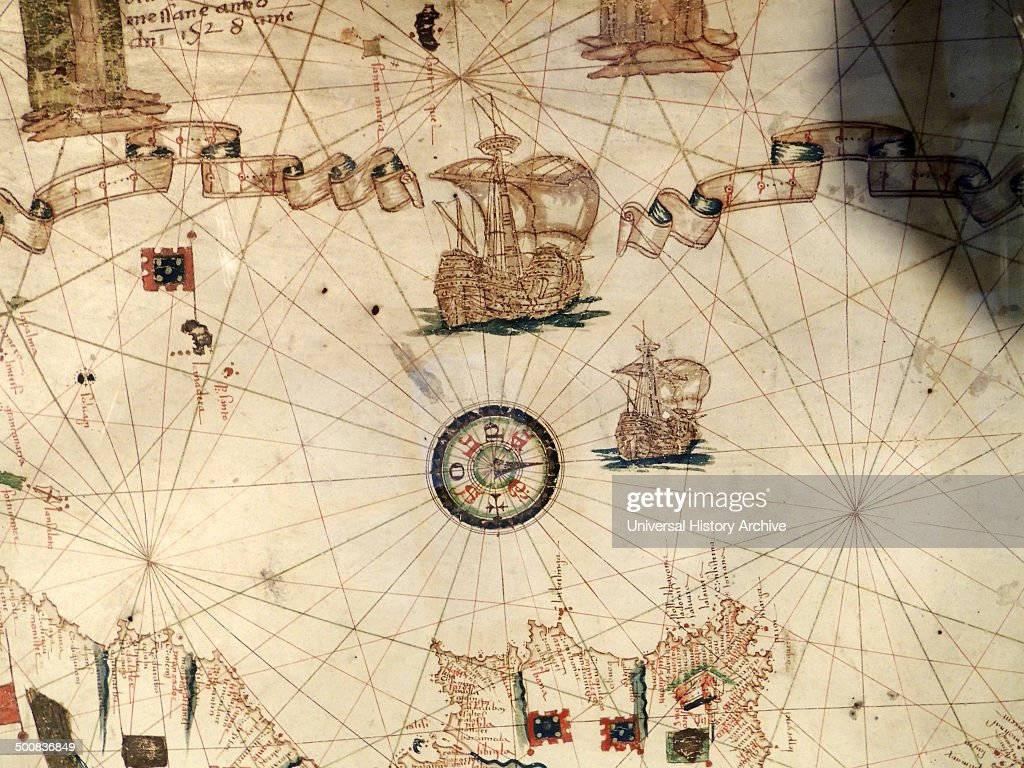Mediterranean Sea With Compass And Ship Depicted In Jacopo Russo - Us map w compas
