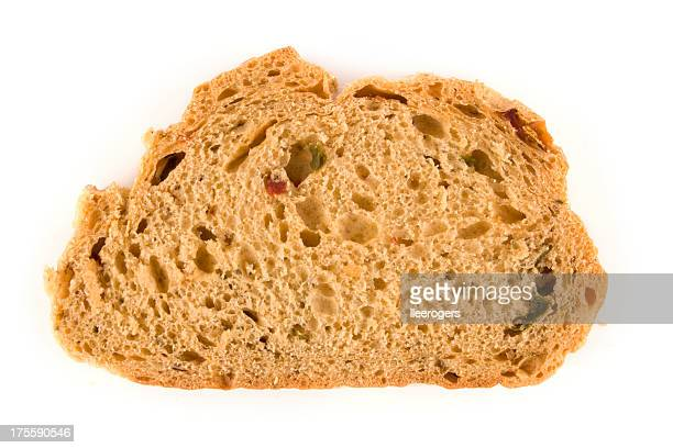 Mediterranean style slice of bread on a white background