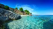 Mediterranean Sunny Beach, crystal clear water in Adriatic Sea