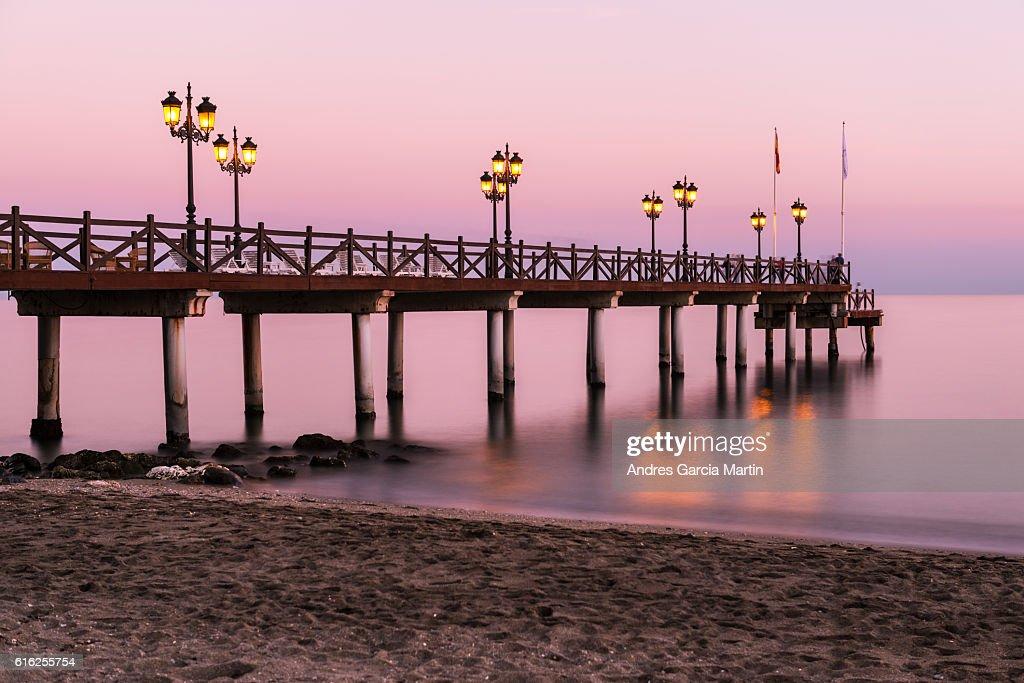 Mediterranean sunset in Marbella, Costa del Sol, Spain : Foto de stock