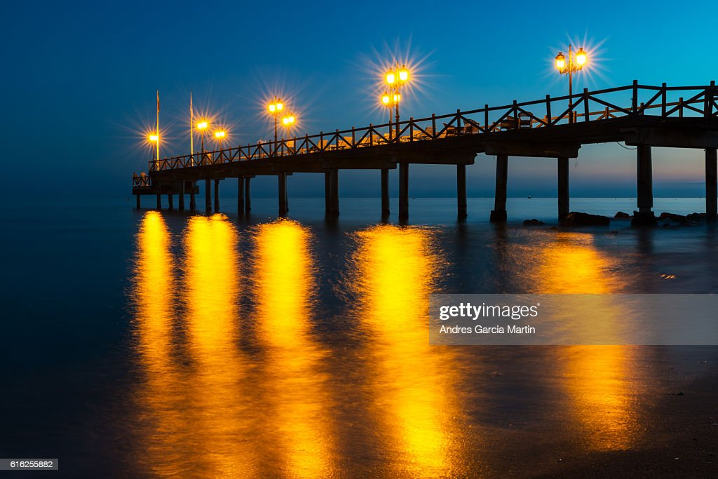 Mediterranean sunset in Marbella, Costa del Sol, Spain : Stock Photo