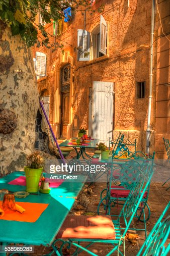 Mediterranean terrace in the Marseille city street
