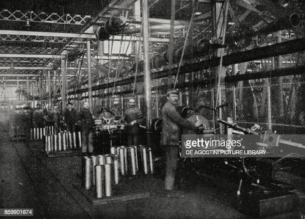 Medium caliber grenades inner chamber borehole with special revolver machines in an ammunition factory Italy World War I from L'Illustrazione...