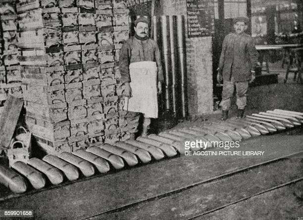 Medium caliber grenades ready for dispatch in an ammunitions factory Italy World War I from L'Illustrazione Italiana Year XLIII No 14 April 2 1916