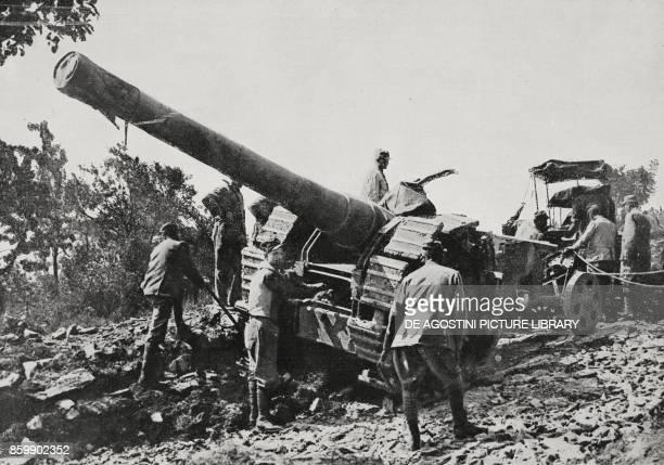 Medium caliber towed artillery on the Asiago plateau Italy from L'Illustrazione Italiana Year XLIII No 30 July 23 1916