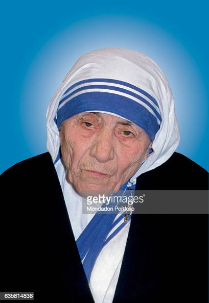 Medium closeup of Mother Teresa of Calcutta Albanian catholic woman Peace Nobel Prize Laureate and founder of the religious congregation of the...