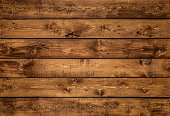 Medium brown wood texture background viewed from above. The wooden planks are stacked horizontally and have a worn look. This surface would be great as design element for a wall, floor, table etc.
