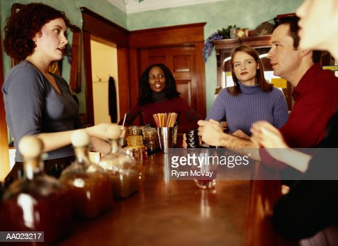 Medium Group of People in an Herbal Tonic Caf?