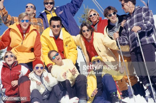 Medium group of skiers on mountain