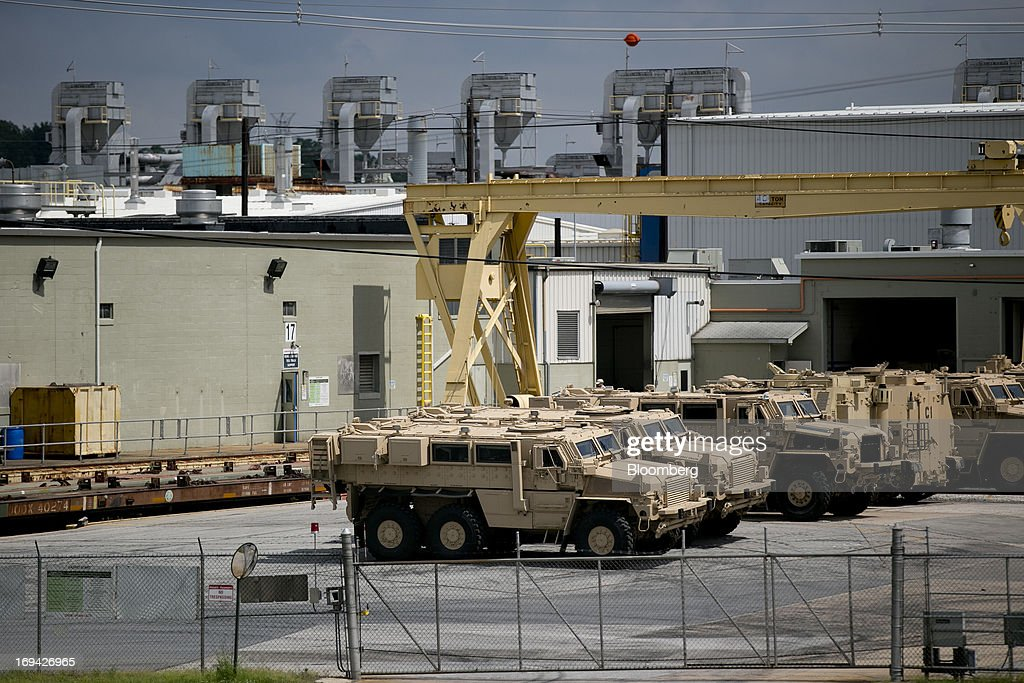 Medium Mine Protected Vehicles (MMPV) sit at the BAE Systems Plc Land & Armaments facility in York, Pennsylvania, U.S., on Thursday, May 23, 2013. BAE Systems Plc is deploying smaller suppliers to pressure U.S. lawmakers to speed up orders to modernize Bradley fighting vehicles, a move the company said may protect thousands of subcontractor jobs and keep a Pennsylvania assembly line open. Photographer: Andrew Harrer/Bloomberg via Getty Images