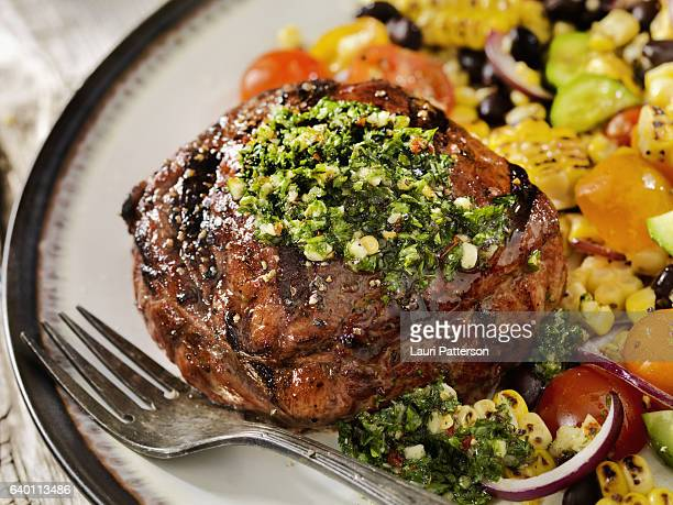 Medium Rare Sirloin Steak with Chimichurri Sauce
