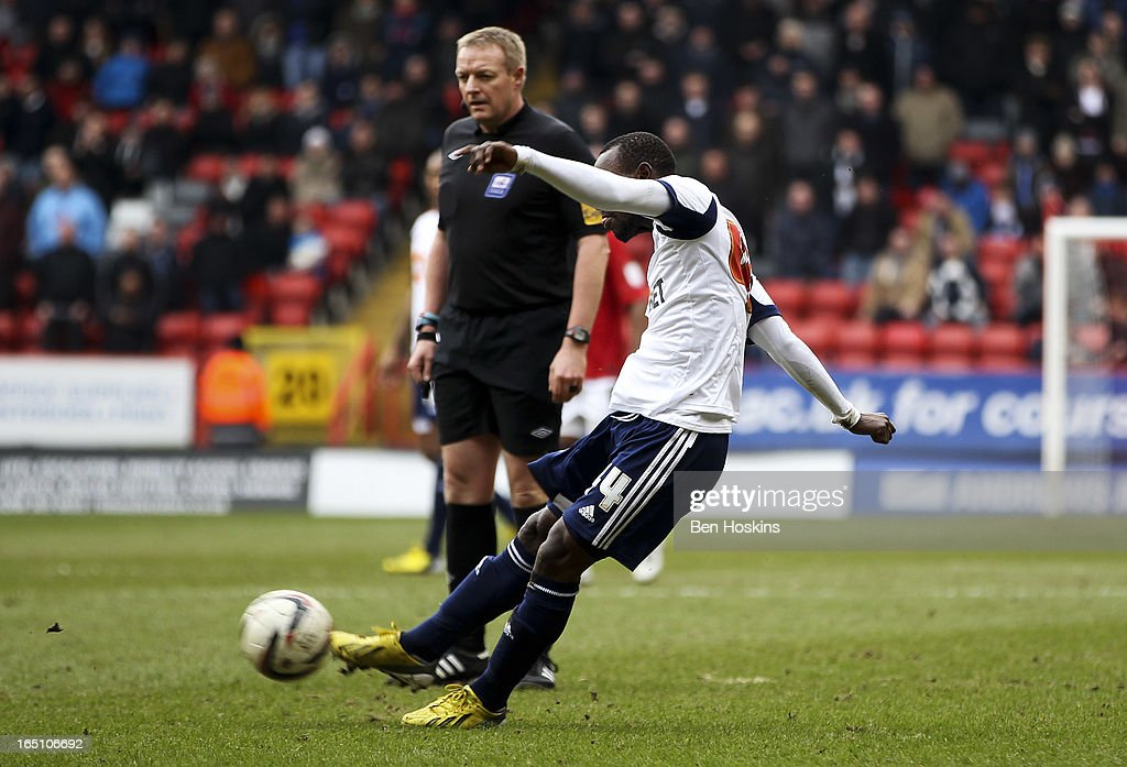 Medo Kamara of Bolton scores their second goal during the npower Championship match between Charlton Athletic and Bolton Wanderers at the Valley on March 30, 2013 in London, England.