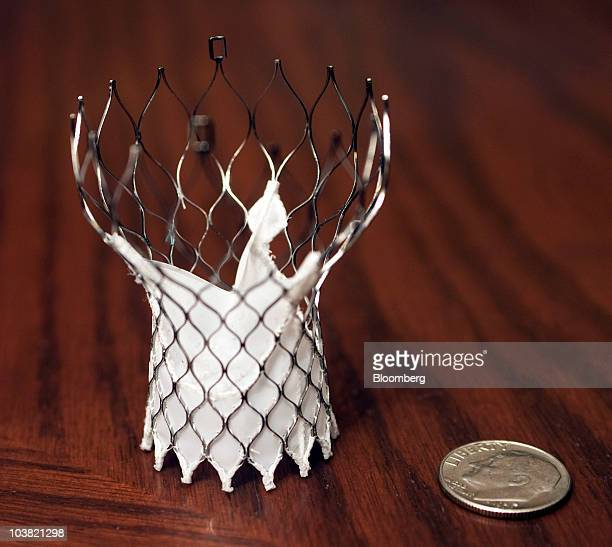 A Medtronic Inc CoreValve transcatheter aortic valve system is arranged for a photo at company headquarters in Minneapolis Minnesota US on Tuesday...