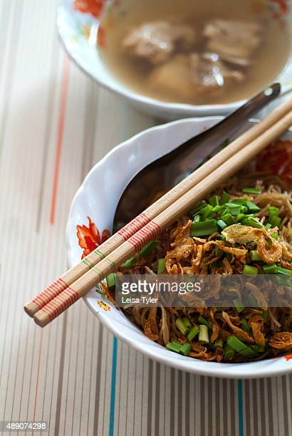 Mee hoon ba chang thin Hokkien noodles with a pork spare rib soup a Baba cuisine dish a style developed in Phuket by Hokkien Chinese who migrated...