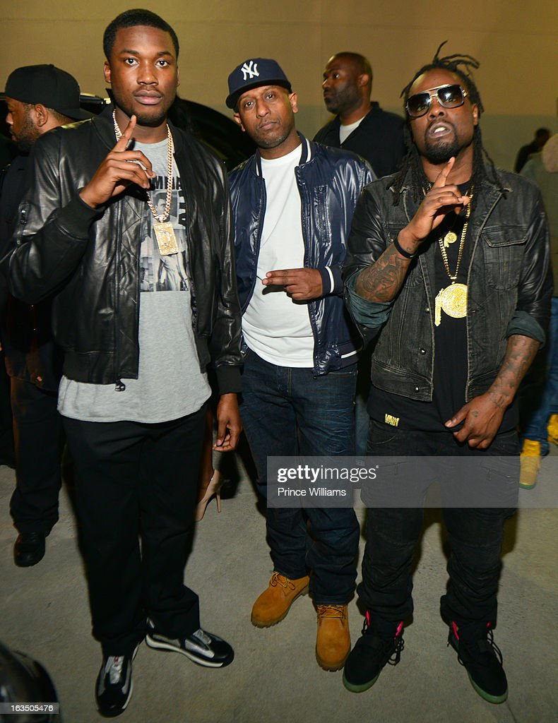 Meek Mill, Alex Gidewon and Wale attend at Compound on March 9, 2013 in Atlanta, Georgia.