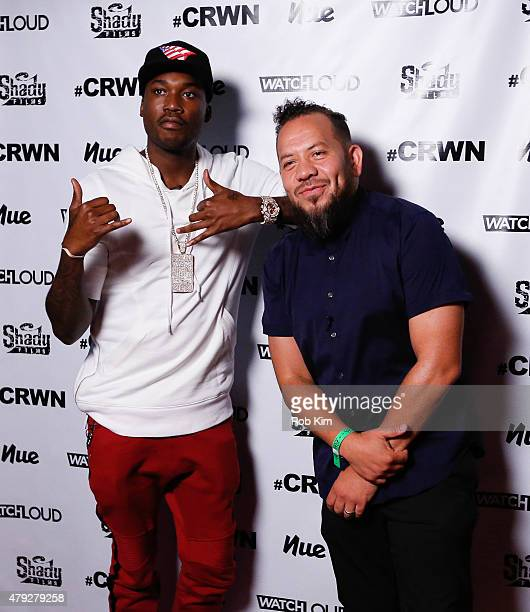Meek Mill and Elliott Wilson pose backstage at CRWN A Conversation With Elliott Wilson Meek Mill event at Gramercy Theatre on July 2 2015 in New York...
